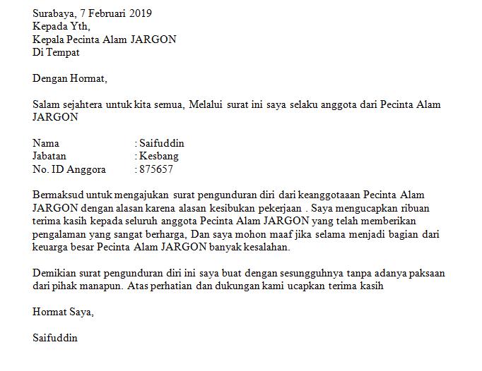 Contoh Surat Pernyataan Pengunduran Diri Dari Organisasi Bagi Contoh Surat