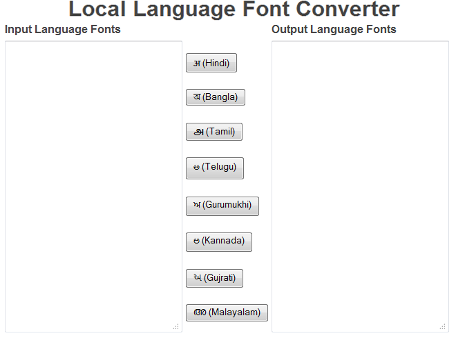 Font Converter: Convert fonts from one local Indian language to