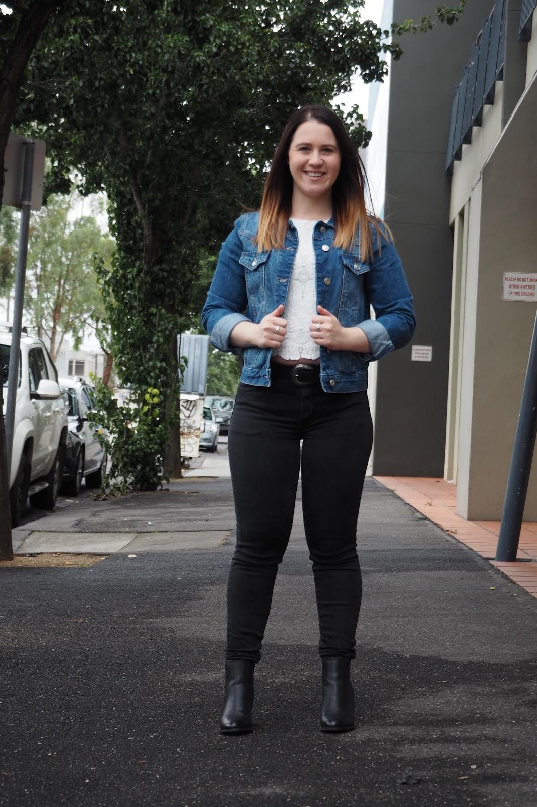 black jeans, lace top, black ankle boots, denim jacket, western belt, tan bucket bag, black jeans and a denim jacket, petite outfit, petite girl outfit, short girl outfit, winter outfit, autumn outfit