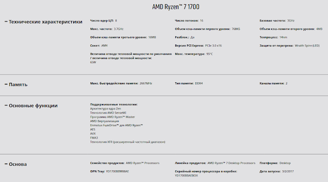 Технические характеристики (спецификация) процессора AMD Ryzen 7 1700