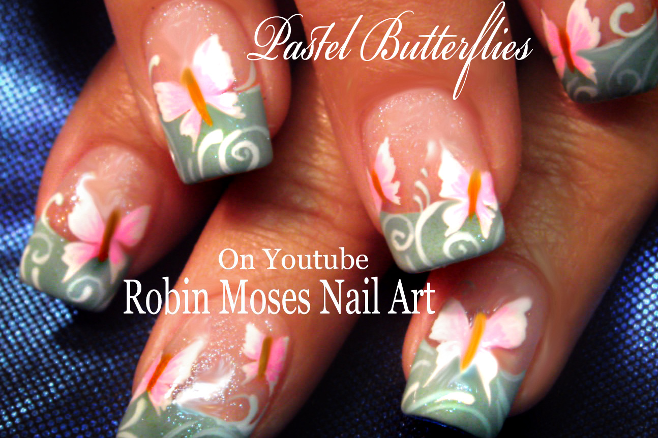 Nail Art By Robin Moses Spring Butterfly Nail Art Design Tutorial