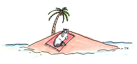 Cat at the beach by Yukié Matsushita