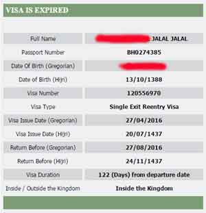 hasil dari pencarian status visa