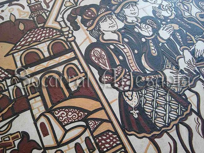 Este detalle forma parte de un socarrat con la escena del Puerto de Valencia al estilo Socarrat. Socarrat Artesanía