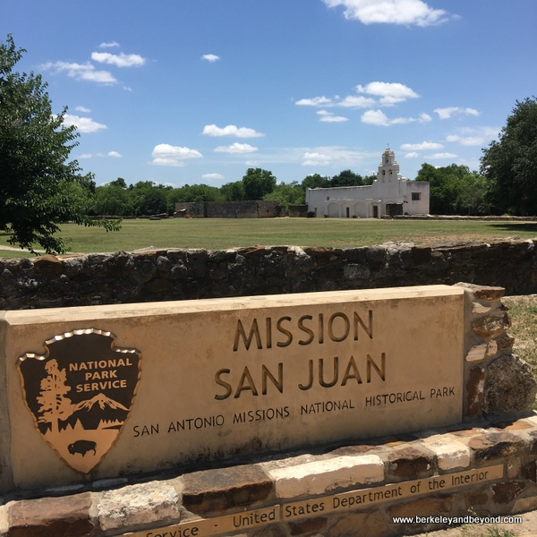 sign for Mission San Juan in San Antonio Missions National Historical Park in San Antonio, Texas