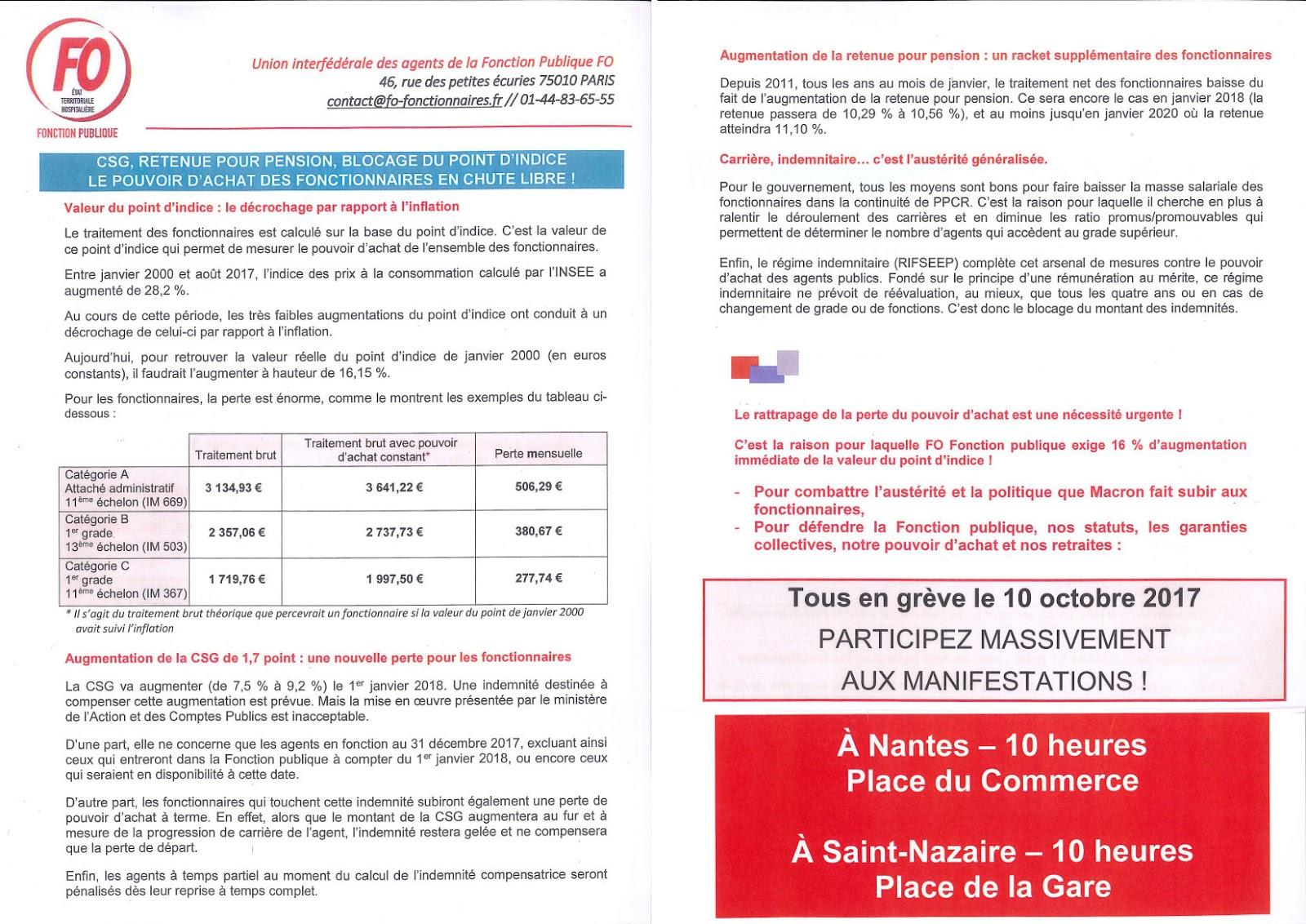 Fo Loire Atlantique Fonction Publique Greve Et Manifestations