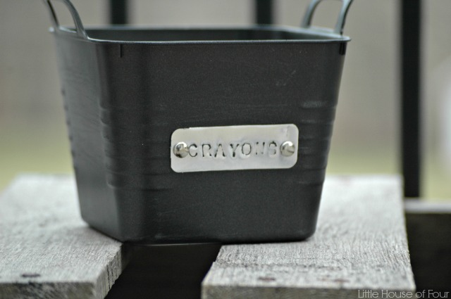 Updated Dollar Tree storage bins with custom metal tags