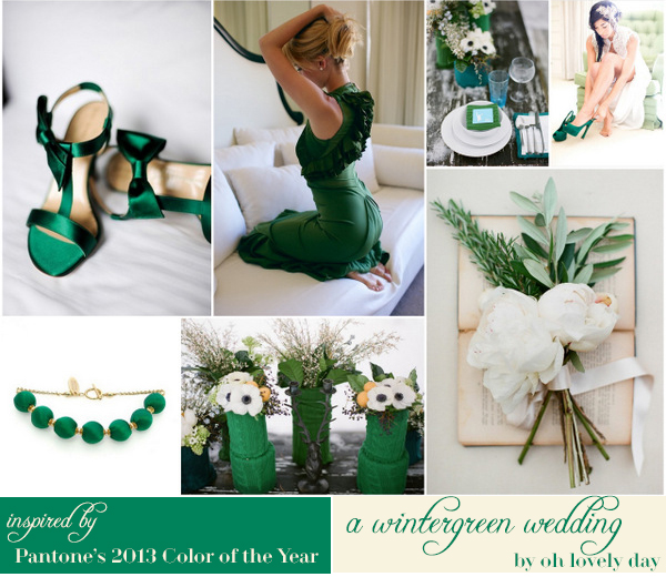wintergreen wedding inspired by pantone's #coloroftheyear: emerald. by oh lovely day