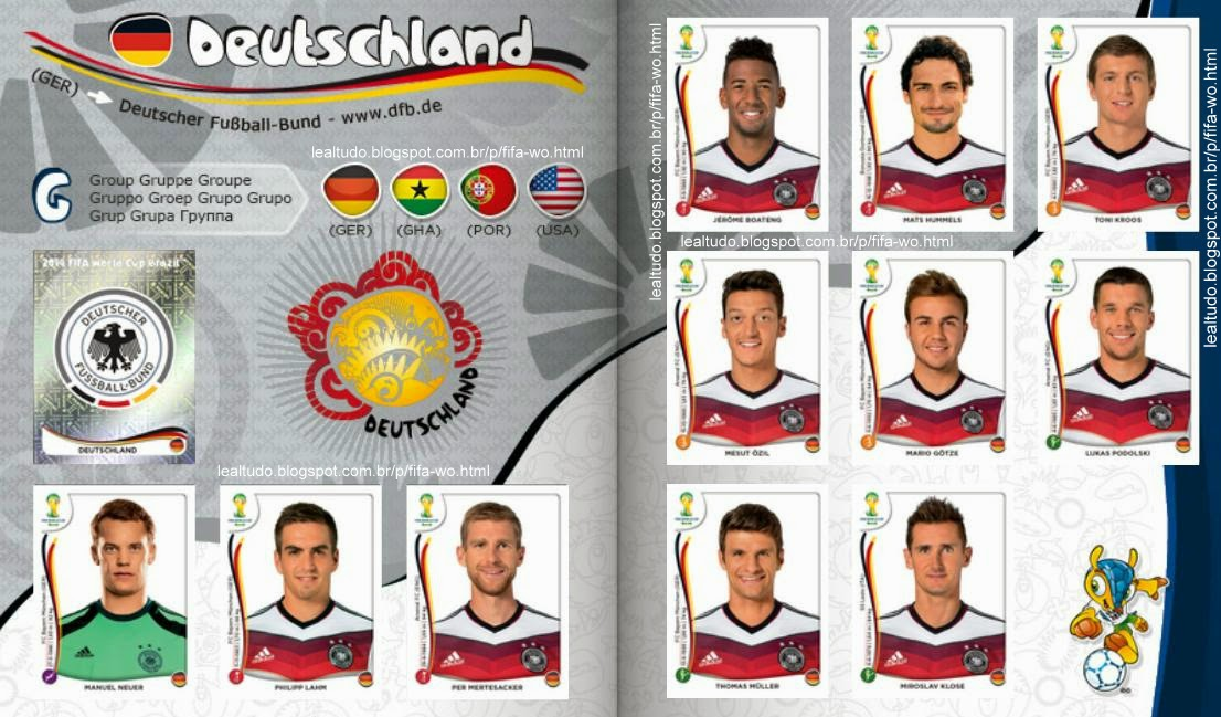Album DEUTSCHLAND - ALEMANHA Fifa World Cup BRAZIL 2014 LIVE COPA DO MUNDO Sticker Figurinha Download Lealtudo