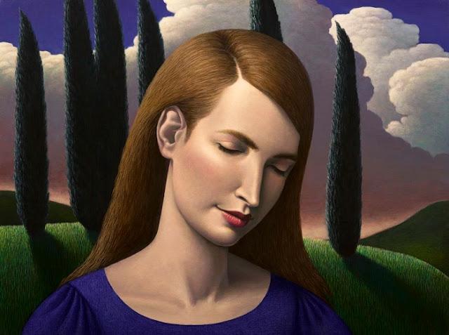 Obra de arte, pintura contemporánea: retrato de ensueño de una mujer, al fondo el un hermoso valle. Cool picture.