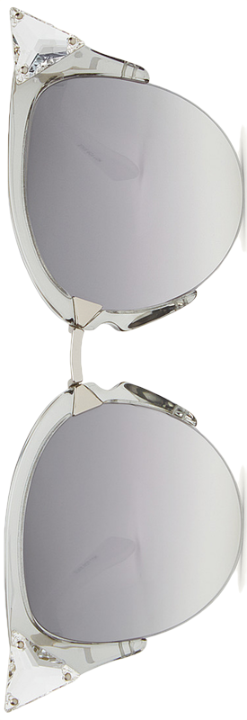 Fendi Iridia Cat-Eye Crystal-Tip Sunglasses, Gray