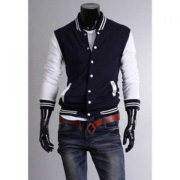 Casual Style Stand Collar Long Sleeves Polyester Sweat-Shirt For Men