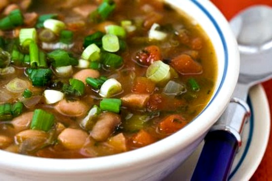 Pressure Cooker (or Stovetop) Spicy Pinto Bean Soup with Ham, Tomatoes, and Cilantro found on KalynsKitchen.com