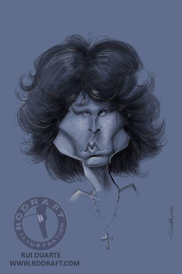 Caricatura de Jim Morrison por Rui Duarte