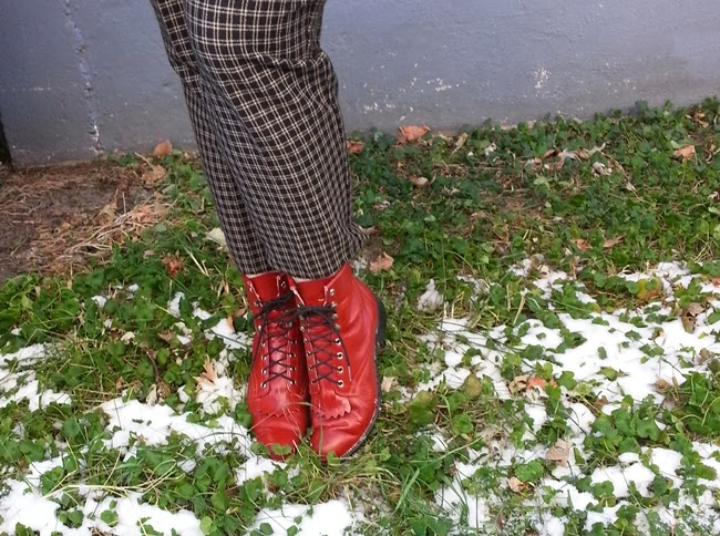 red lace-up oxford boots and vintage plaid cigarette pants