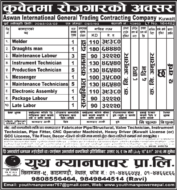 Free Visa, Free Ticket, Jobs For Nepali In Kuwait Salary -Rs.64,000/