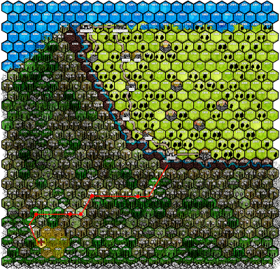 Hex map with red line showing party's progress deeper and deeper into Ghallia-That-Fell