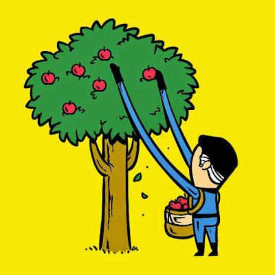El Sr. fantastico cortando manzanas con sus brazos elasticos.