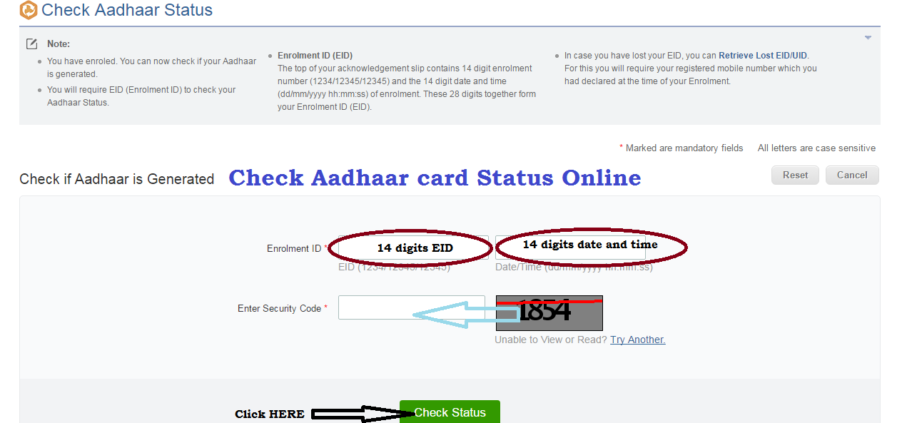 Check Aadhaar Card Status By Name and Address on resident