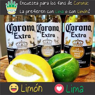 corona con lima o limon