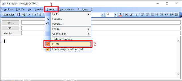 Microsoft Outlook 2003 formato de texto HTML