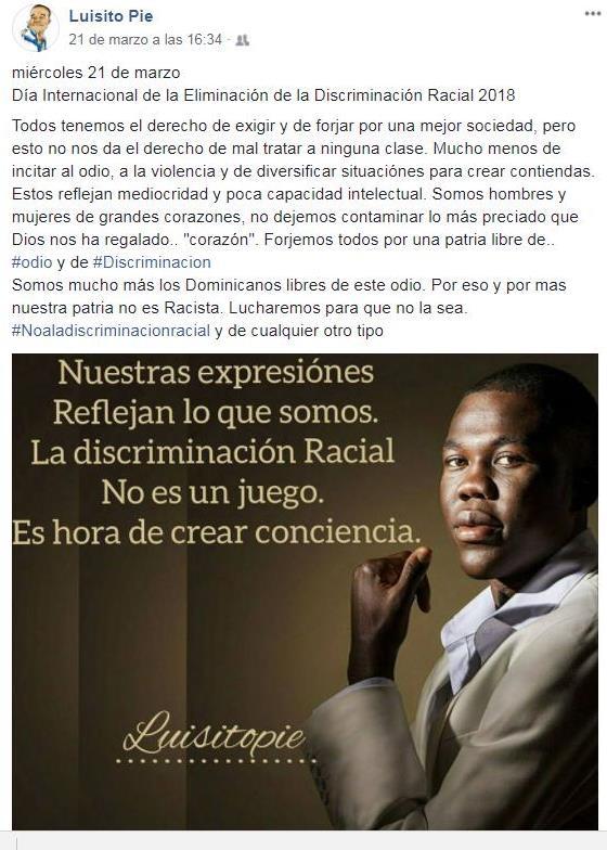 """Luisito Pié sobre el racismo: """"He sido discriminado en mi país"""""""