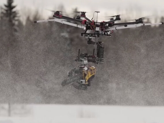drone carrying chain saw