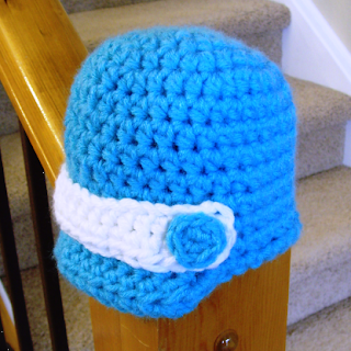 crocheted baby newsboy hat
