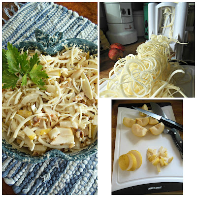 A crunchy, not too sweet celery root and Asian Pear Waldorf Salad.