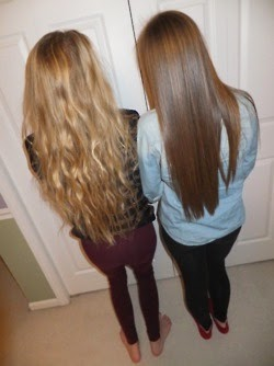 This is like me and Emily; trying to grow our hair out at the same time. We're going on almost two years. :)