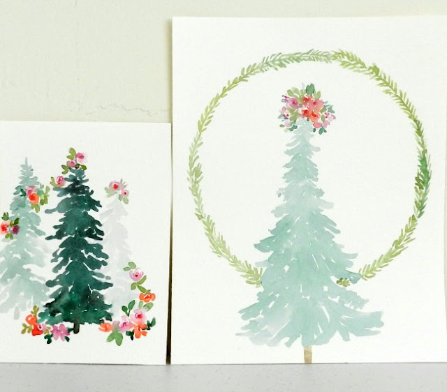 Watercolor Floral Christmas Trees by Elise Engh