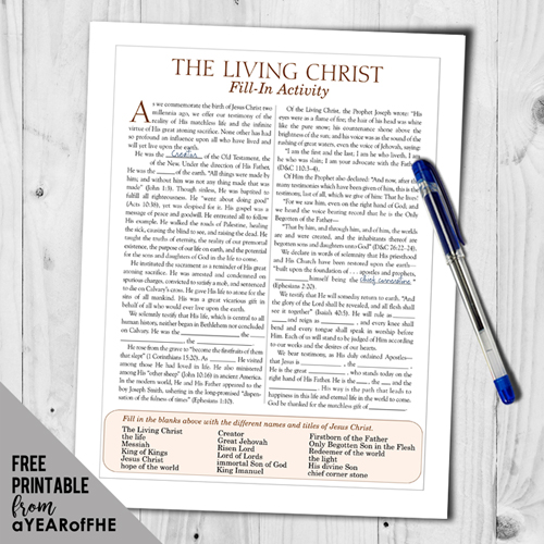 picture about The Living Christ Free Printable titled A Yr of FHE: Calendar year 02 / Lesson 15: The Dwelling Christ