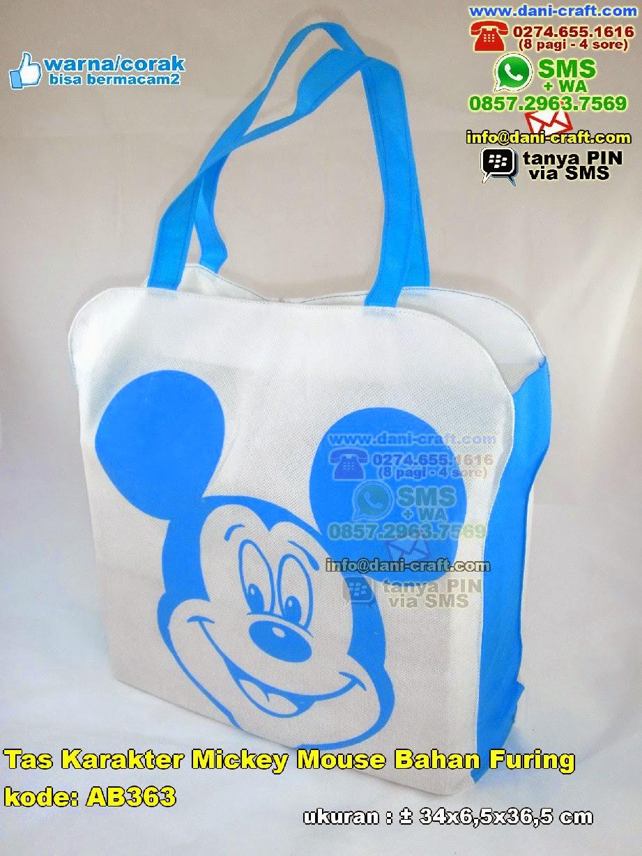 Tas Karakter Mickey Mouse Bahan Furing Souvenir Pernikahan