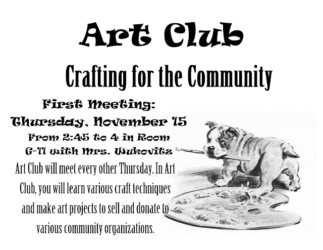 CPP Middle School Art Blog: Art Club: Crafting for the