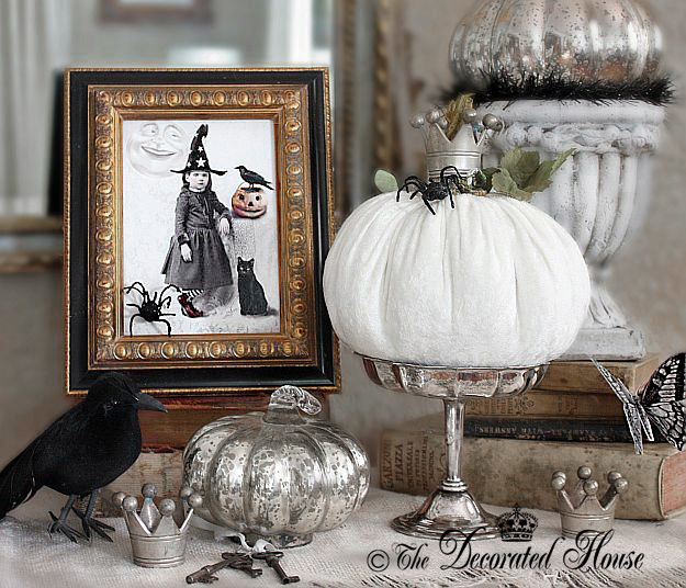 The Decorated House - Halloween, Velvet Pumpkins, Mercury Glass Pumpkins