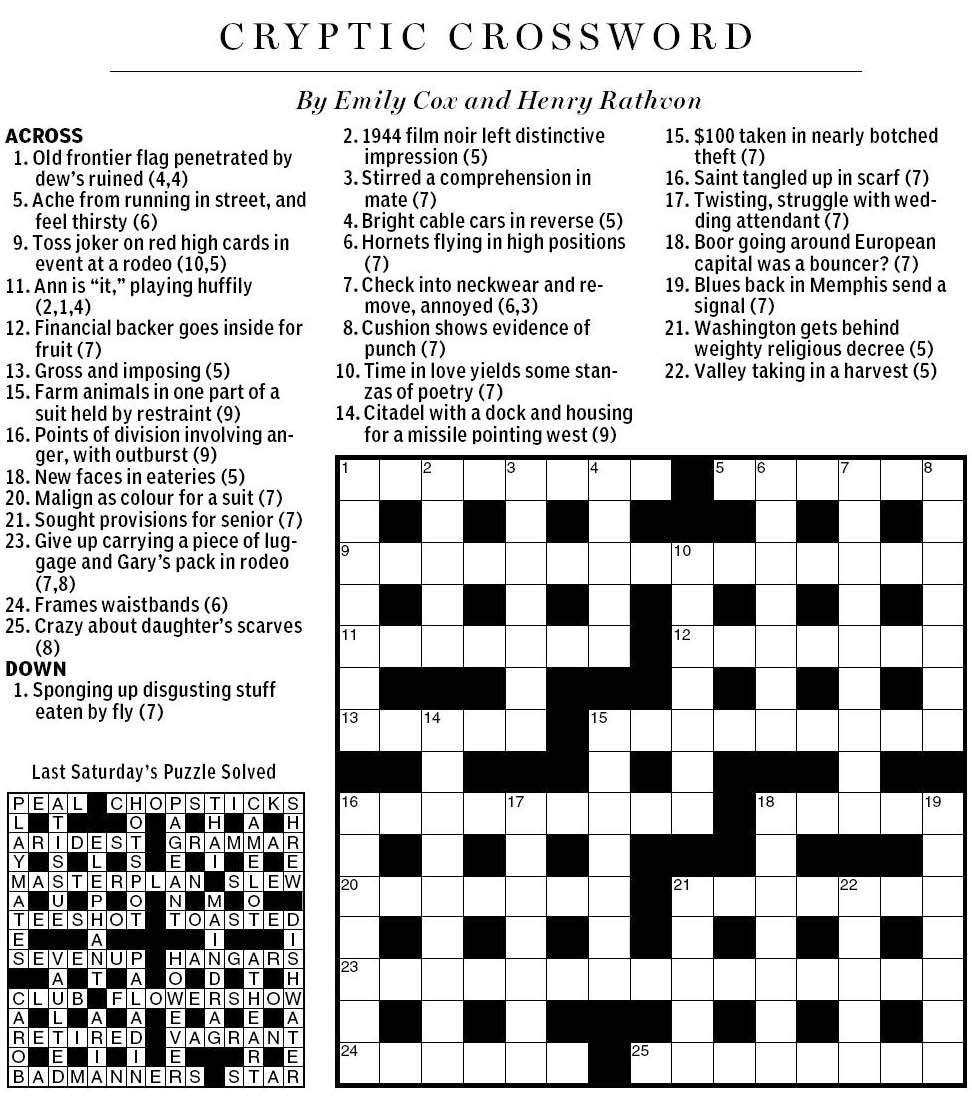 National Post Cryptic Crossword Forum Saturday July 9