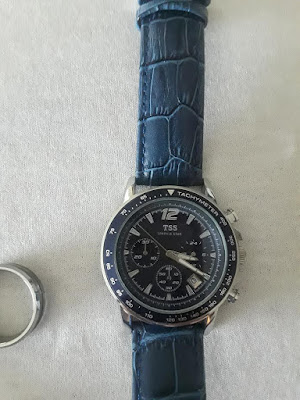 What Type of man do you have?-A Little Bit OF Something-Quartz Chronograph Diver Beze Watch-blue and leather band