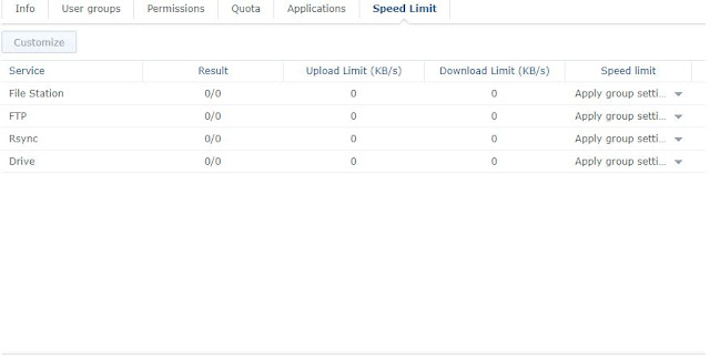 how to limit speed on Synology DS218+