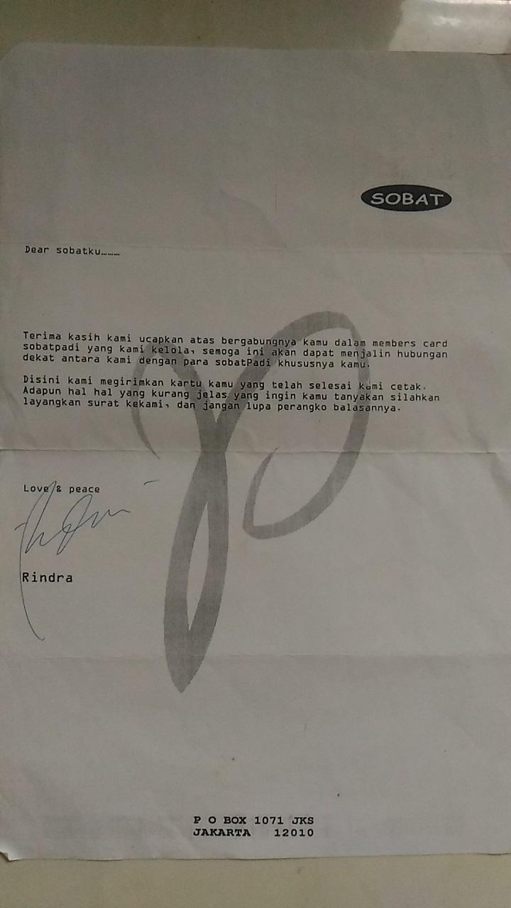 Surat Pengiriman Kartu Anggota SOBAT PADI FANS CLUB