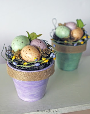 Finished project of nests on pots