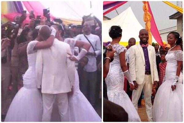 Man Marries Two Women Immediately In Abia State, Kisses Them Together (Photos)