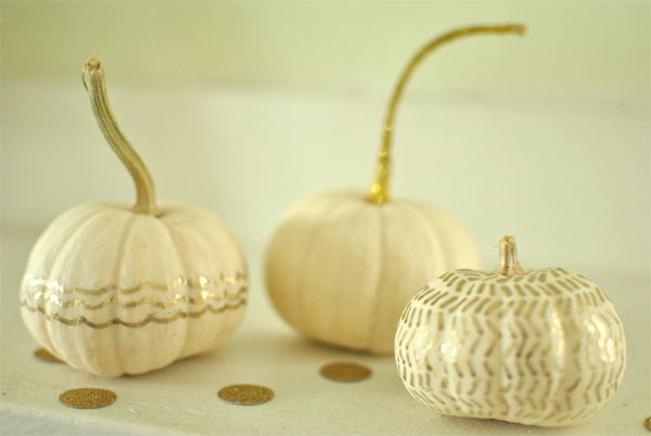 White And Gold Painted Pumpkins