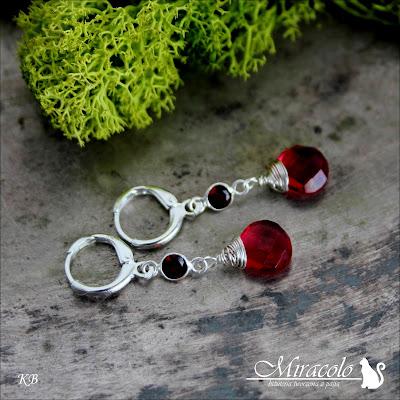 Miracolo, kolczyki z granatem, kolczyki z kwarcem turmalinowym, garnet earrings, tourmaline quartz earrings