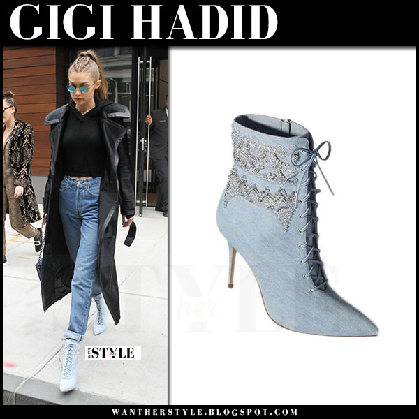 Gigi Hadid in blue lace up ankle boots manolo blank what she wore