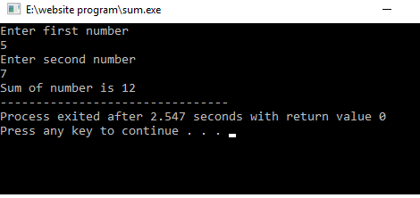 Sum of two number in c language  - Basic of c programming