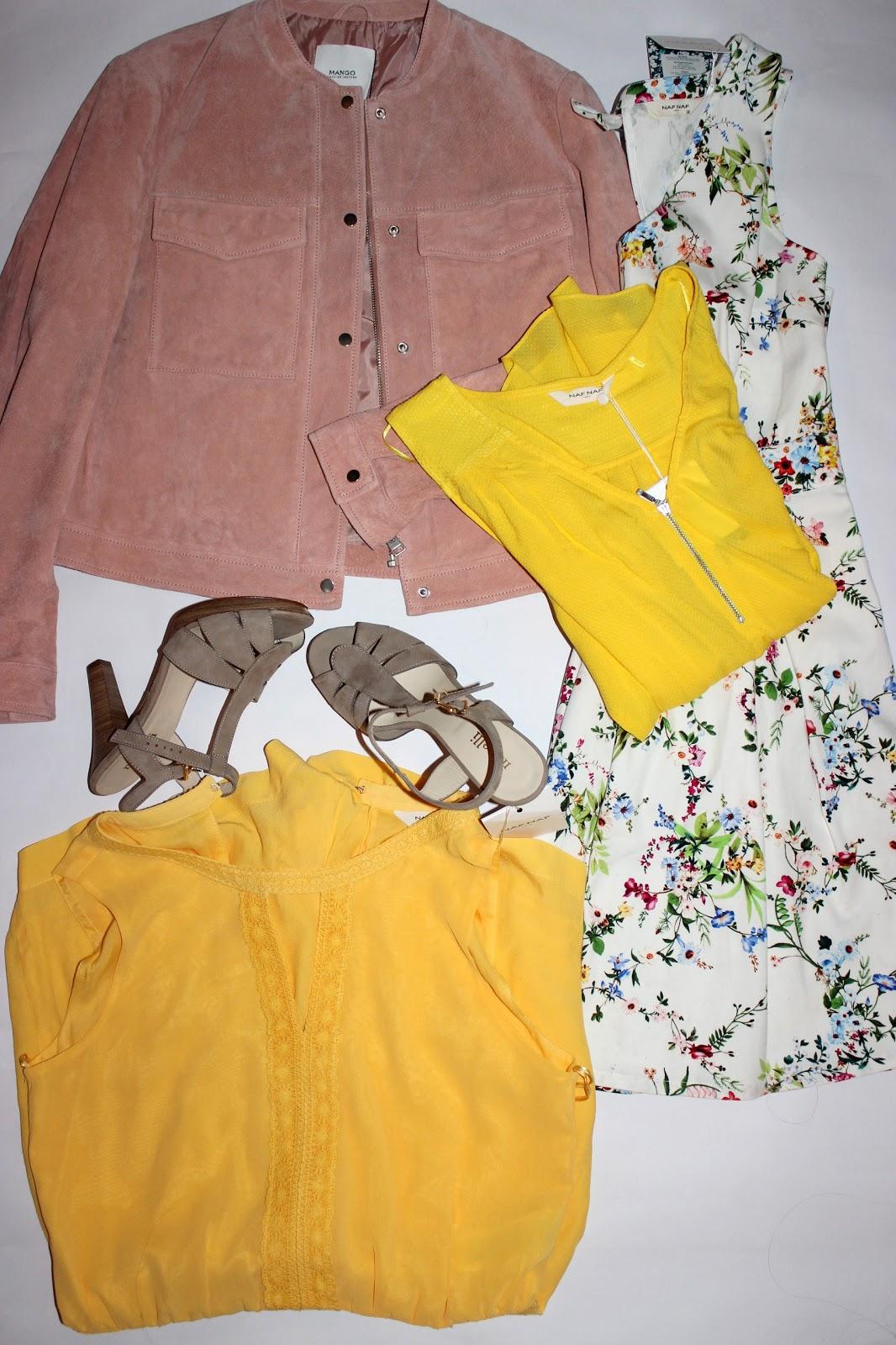 Blouson daim rose mango, robe à fleurs naf naf, combi short jaune, sandales