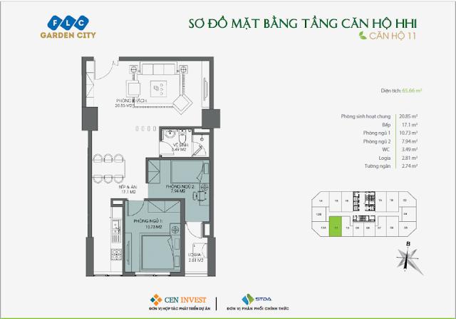 Thiết kế căn hộ 11, 65m, HH1 FLC Garden City