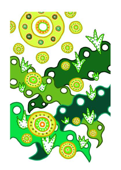 Illusztráció gyerekvershez, digitális rajz a tavaszi olvadásról, kibújó hóvirágokkal, zöldülő rétekkel, kacsingató nappal és cinkefüttyel.