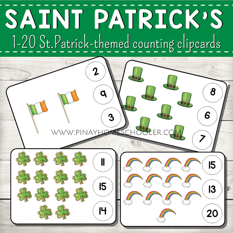 1 to 20 St. Patricks Day Counting Clipcards Activity