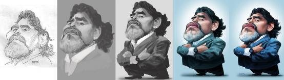 Proceso de caricatura de Maradona por André Bethlem